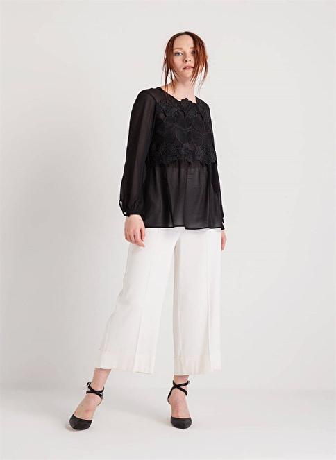 Rue Dantelli Uzun Kollu Bluz Siyah